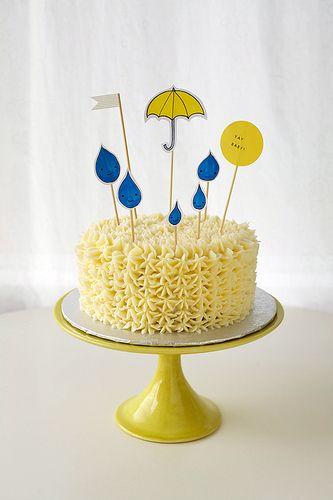 raindrops and umbrella baby shower cake