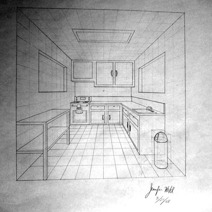 Another one point perspective drawing of a kitchen that i invented one point perspective kitchen