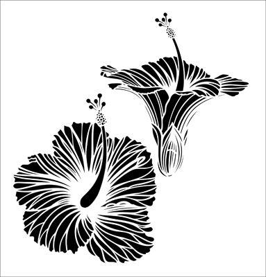 Hibiscus stencil from The Stencil Library VINTAGE range. Buy stencils online. Stencil code VN148.