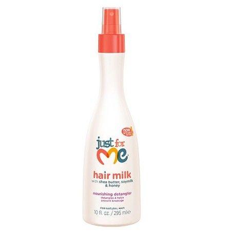 Just For Me - Hair Milk Leave-In Detangler. Démêlant capillaire pour enfants. Formulé avec un triple mélange de beurre de karité, de lait de soja et de miel, ce démêlant sans rinçage aide à rendre les cheveux humides ou secs plus maniables et moins sujets à des dommages pendant le peignage et le coiffage. Idéal pour les textures capillaires serrées (crépues, frisées), bouclées et ondulées.