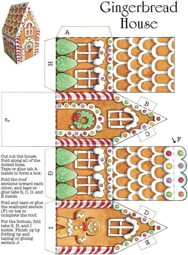Plantilla de caja de casa de jengibre  Gingerbread house box templates
