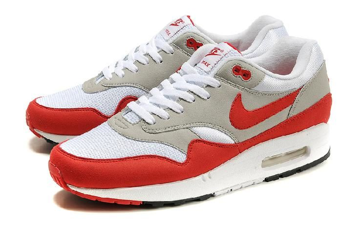 buy popular d56fe 9c075 ... netherlands pas cher en gros nike air max 1 chaussures de sport rouge  gris blanc et