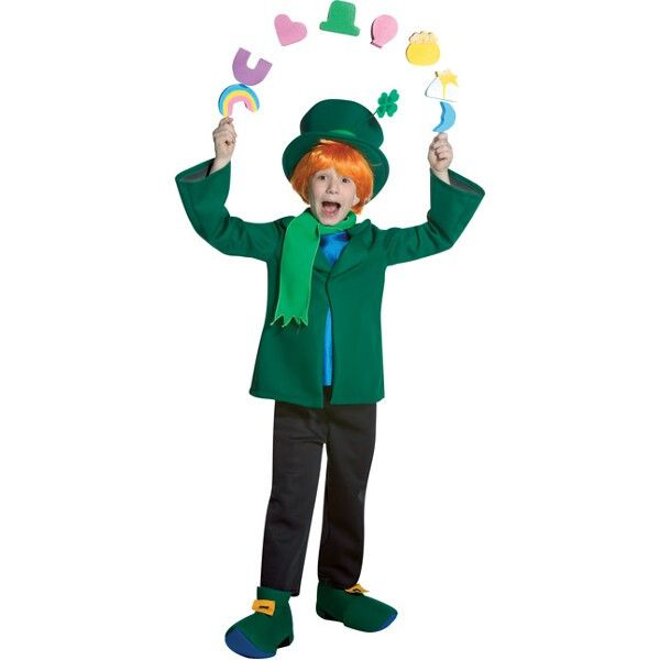 Child's Lucky Charms Leprechaun Costume. - Leprechaun Hat - Jacket, shirt, and pants - Slip on shoe covers - Lucky Charms prop - Wig not included - Child size 7-10 - SKU: CA-009378