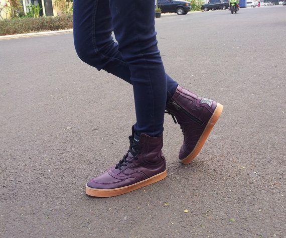 stivali di pelle viola melanzana scarpe fatte di MarapulaiClothing