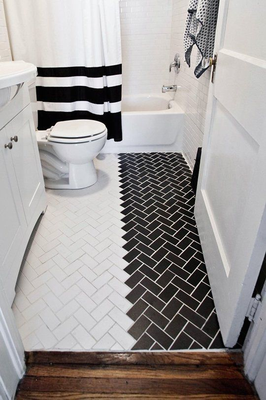 Before & After: A Bathroom Transformation for a Good Cause — A Beautiful Mess | Apartment Therapy  Love the Black/white floor