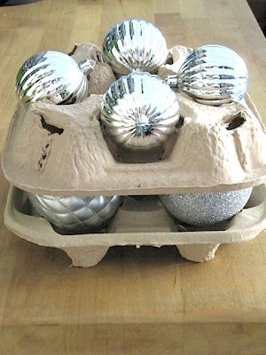 Recycled Ornament Storage - now you know what to do with drink trays from fast food places