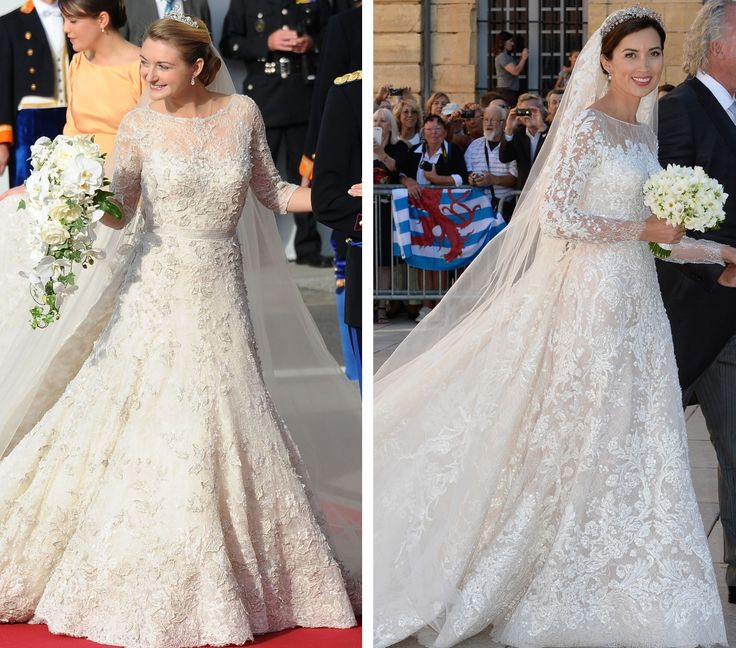 royalroaster:  Royal Gowns and Bouquets-HGD Stéphanie, 2012; Princess Claire, 2013