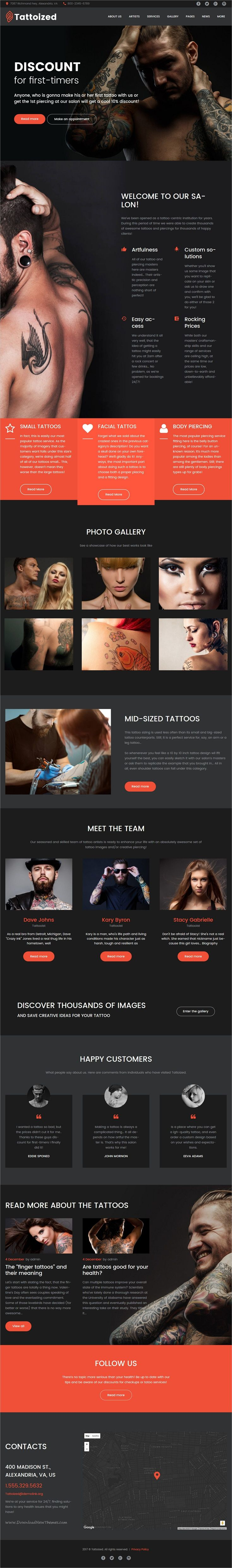 Tottoized is a wonderful responsive #WordPress theme for body art, #piercing and #tattoo salons website download now➩ https://themeforest.net/item/tattoized-tattoo-salon-wordpress-theme/19635394?ref=Datasata