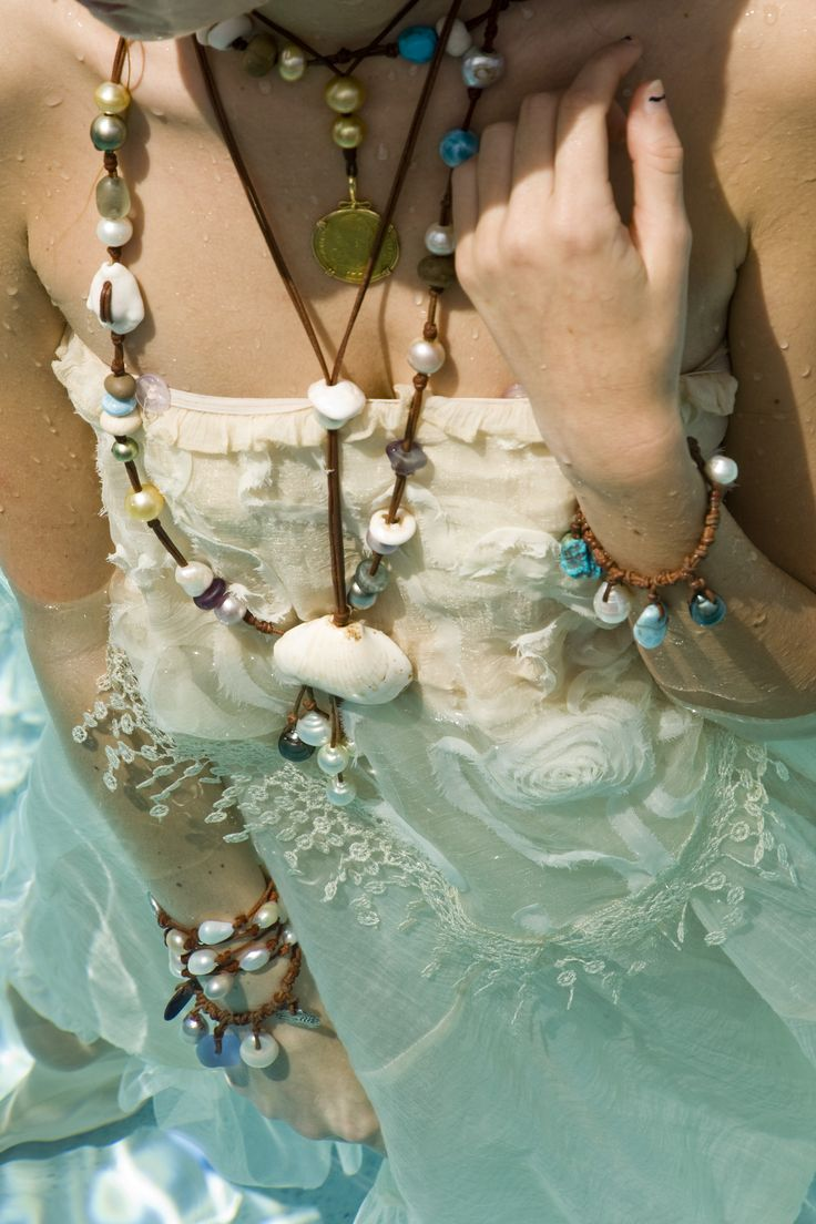 Pearls and shells on leather are the perfect beach jewelry