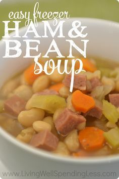 Nothing warms up a cold winter day faster than a steaming bowl of delicious homemade soup but there's not always time to put in a full day of cooking to get it just right. This easy freezer ham & bean soup has all the flavor of the traditional version, but comes together in minutes and can be frozen ahead for busy nights!
