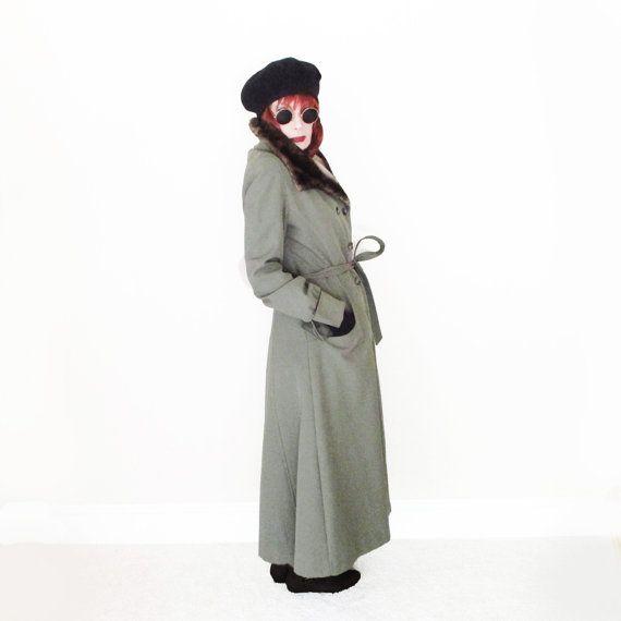 Vintage Maxi Trench Coat - 70s Maxi Coat - Fur Collar & Lining - Winter Trench