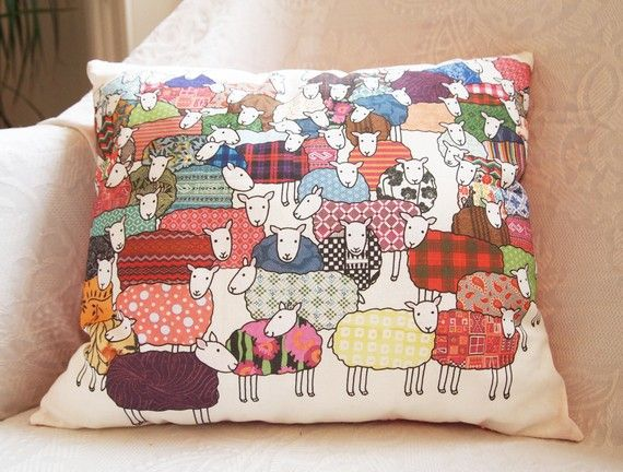 """Super colourful sheep cushion by UK Handmade Member Mary Kilvert - """"I work as an illustrator/designer in London. I love drawing, patterns, drinking tea and animals especially my black cat..."""" Want!"""