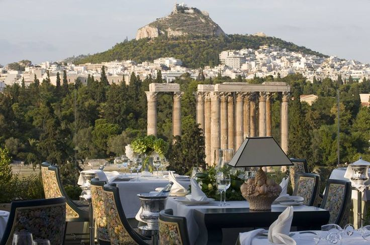 Five Star view to the pillars of Zeus Temple - ATHENS ROYAL OLYMPIC HOTEL Roof Garden Restaurant