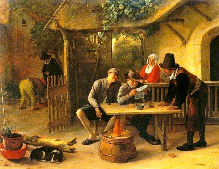 Jan Steen – The Journal Readers – 1670 – Foundation E.G.Bührle Collection, Zurich Kooikerhondje