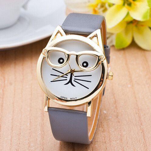 Cat Watch With Glasses Fashion Women Quartz Watches Reloj Mujer 2016 Relogio Feminino Leather Strap New Hot montre LZ106