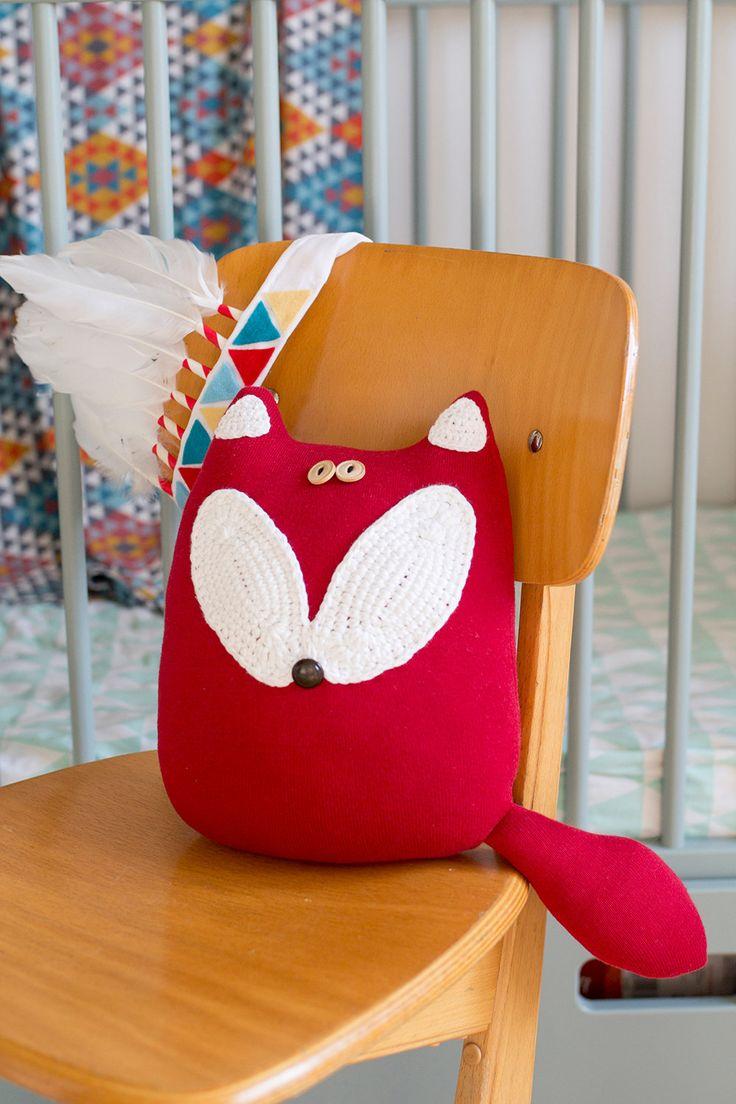 Fox soft toy, upcycled sweater red fox cuddly toy, fox cushion, throw cushion, woodland nursery, forest animals, boho nursery, fox softie by byGu on Etsy