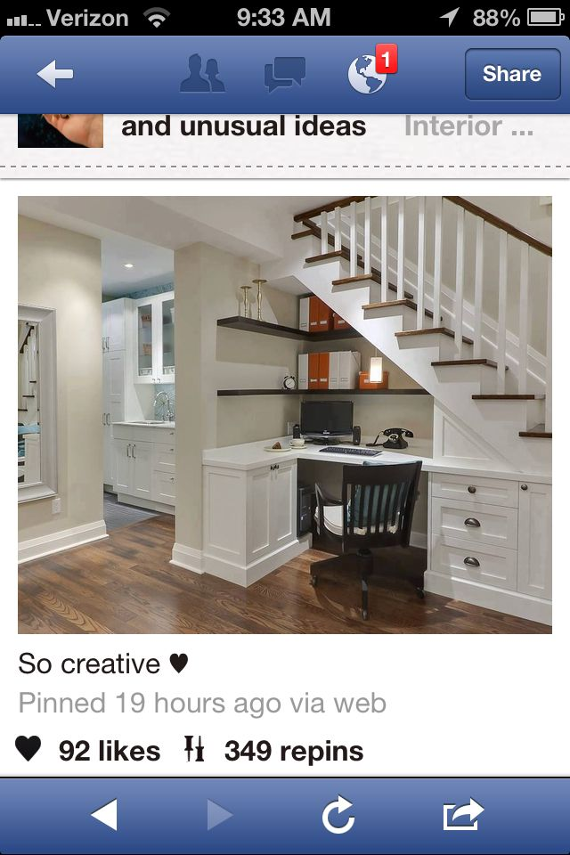 Great use of under stairs space. Nice little desk.