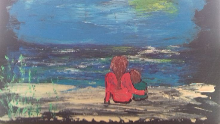 Mor og barn ved Strands Strand