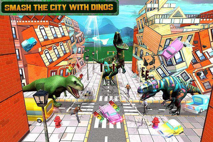 #wild #dinosaur #attack #bloodthirsty #action #simulator #Velociraptor #Tyrannosaurus #Carnotaurus #eat #civilians #cars #demolish #lowpoly #city #terrify #android #game
