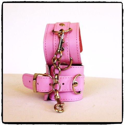 Pink Leather Wrist Cuffs – Lady Kink