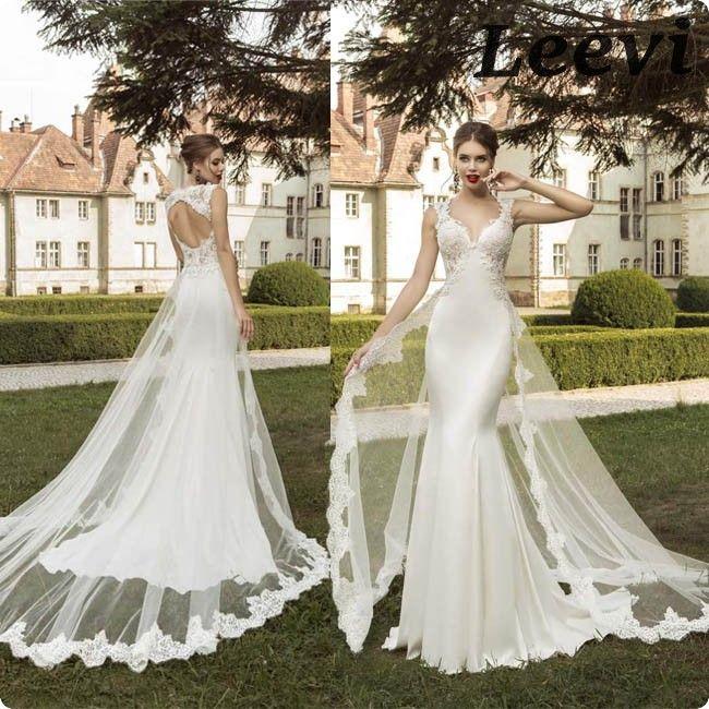 Vestido Vestidos De Noiva Sereia Vintage desmontable falda de la envoltura Backless boda de la mancha Sexy sirena vestidos de novia de cola larga