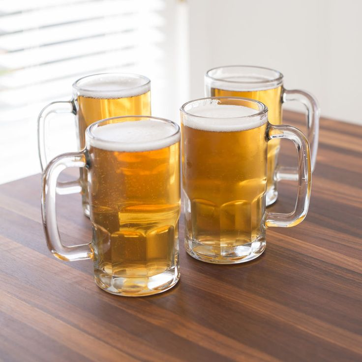 Anchor Hocking count 4-Pcs. Tall Beer Mug Set Glass (20-ounce) Class Gift New #AnchorHocking