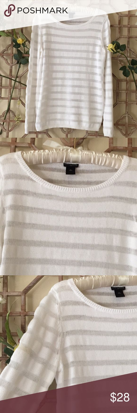 "Ann Taylor white full sleeve cotton sweater This is a white full sleeve sweater with scoop neck. In excellent condition. Length is 26"" bust is 19"" Ann Taylor Sweaters Crew & Scoop Necks"