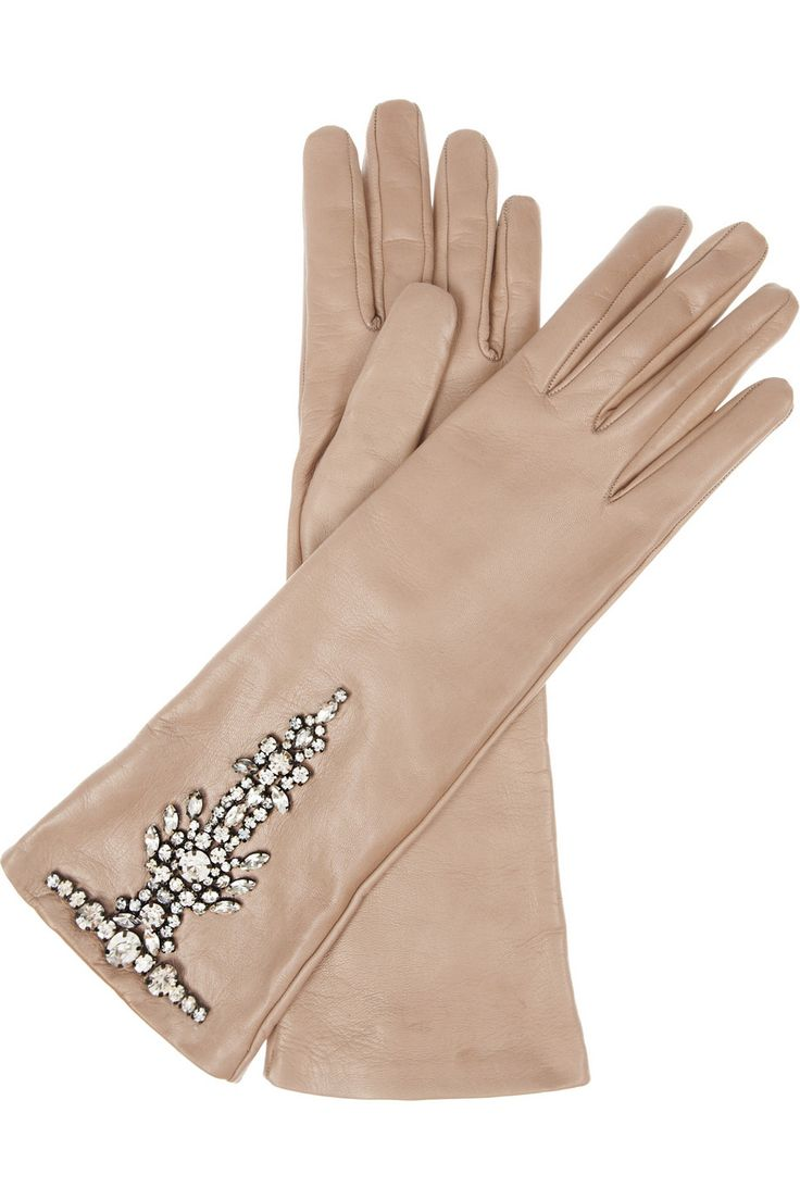 Valentino Crystalembellished Leather Gloves in Brown (mocha) | Lyst
