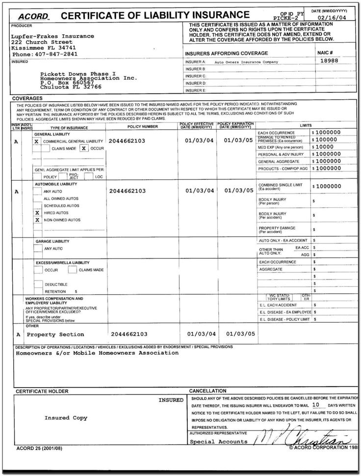 Commercial auto insurance acord form