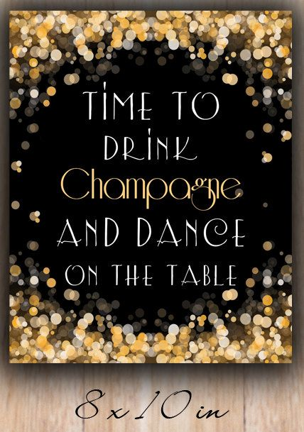 Time to drink champagne 5x7 8x10 New Year Instant by PrintableHome