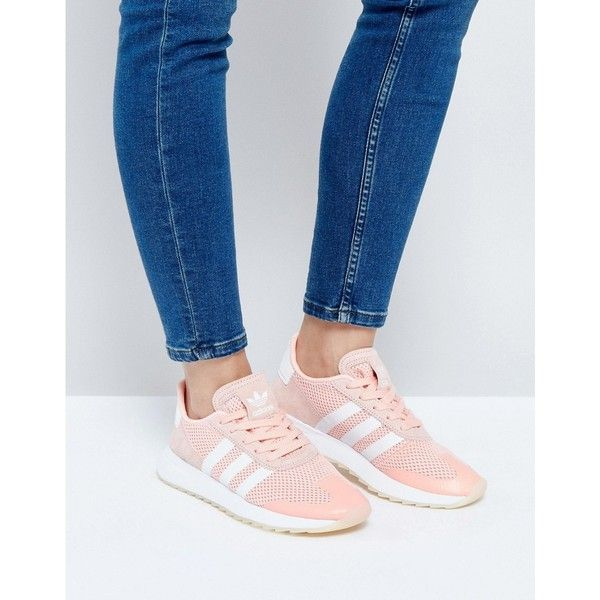 adidas Originals Coral Flashback Trainers (€87) ❤ liked on Polyvore featuring shoes, sneakers, pink, adidas shoes, adidas trainers, pink high top shoes, lace up high top sneakers and high top shoes