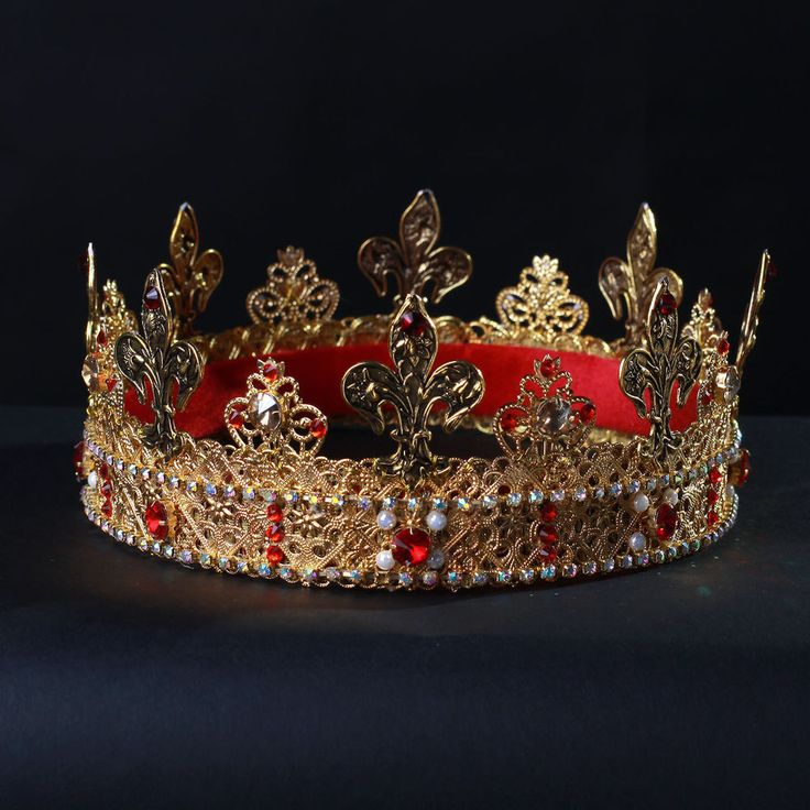 JAME Kings Crown Tudors Wedding Theatre Kings Costume Handmade Gold Men #olenagrin #Crown