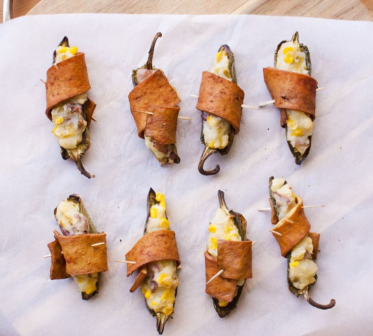 Vegan Wrapped Jalapenos stuffed with Chile Corn Mashed Potatoes