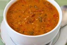African Inspired Crockpot Soup with Peanut Butter, Chiles, Brown Rice, and Lentils Recipe