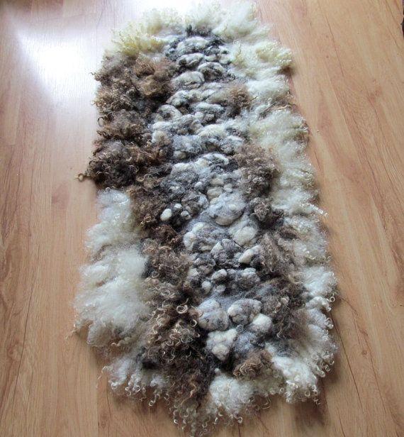 Felted Fur Rug Organic Mat Fleece Wool Decor