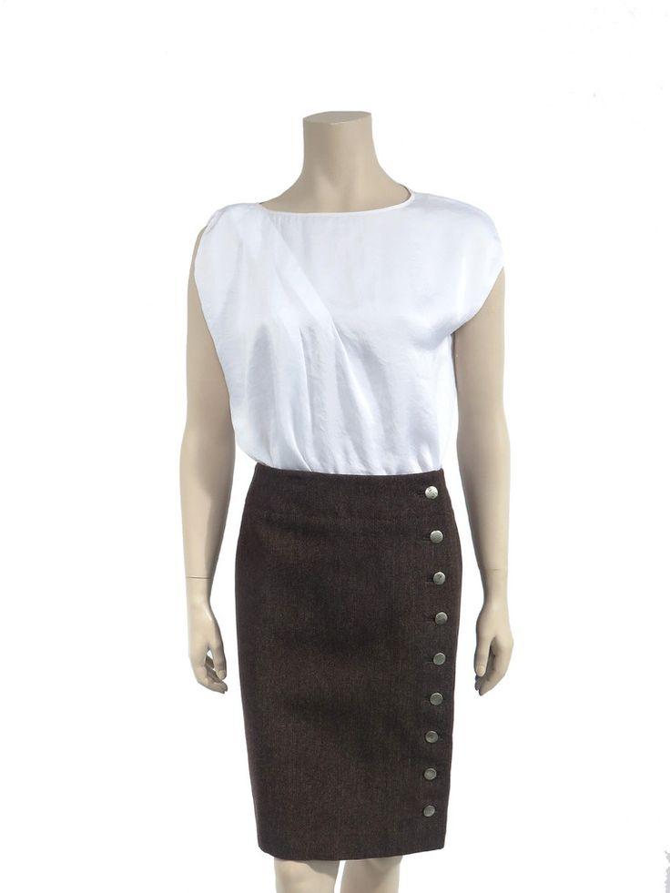 Louis Vuitton Wool Button Skirt www.sabrinascloset.com