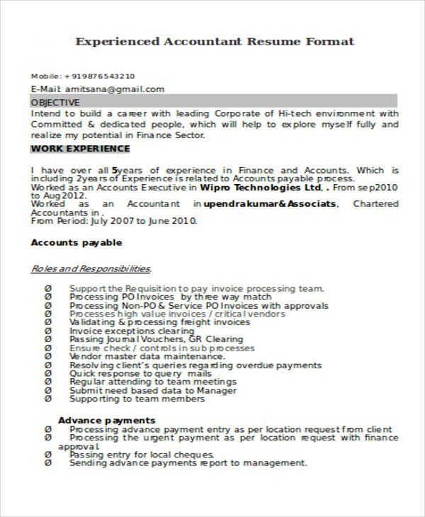 For 5 Years Experience In Accounting Resume Format Accountant