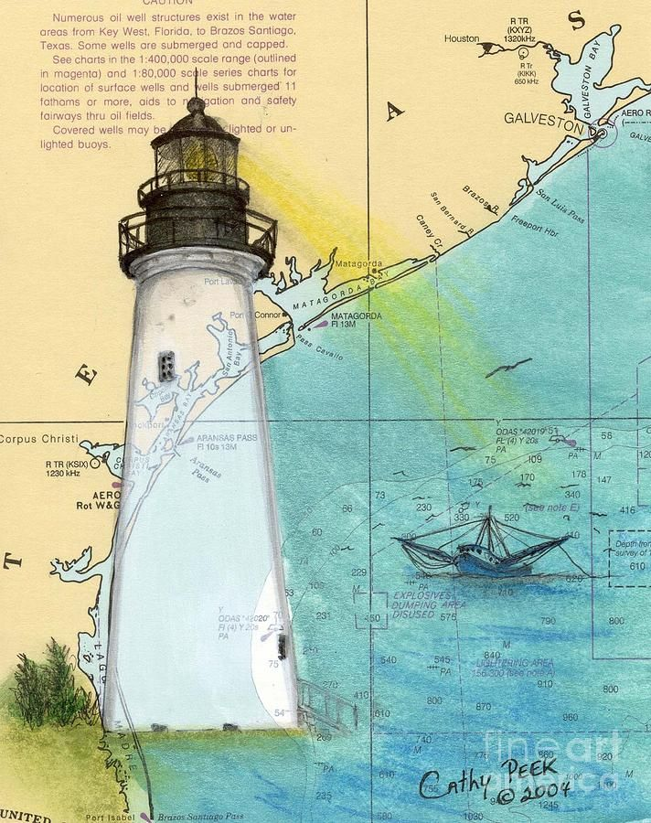 Port Isabel Lighthouse Tx Nautical Chart Map Art Cathy Peek by ...