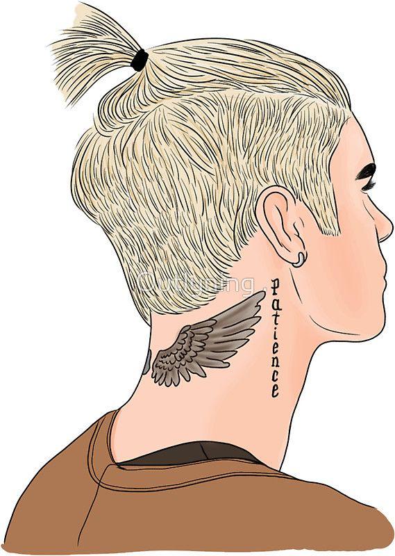 «Justin Bieber Ponytail Drawing» de Outlyning Designs