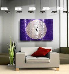 Purple wall art is funky, cute and currently trendy.  You can see how popular purple home wall art décor  is on home décor shows on TV, Online and even in your own community.  Additionally purple wall art is truly  charming and pretty.  #purple       Modern Jewel Tone Fusion Of Purple & Silver Abstract Etched Hand-Painted Metal Wall Clock - Contemporary Home Accent, Home Decor, Three Piece Functional Metal Wall Art - Purple Moon Clock - 38-inch