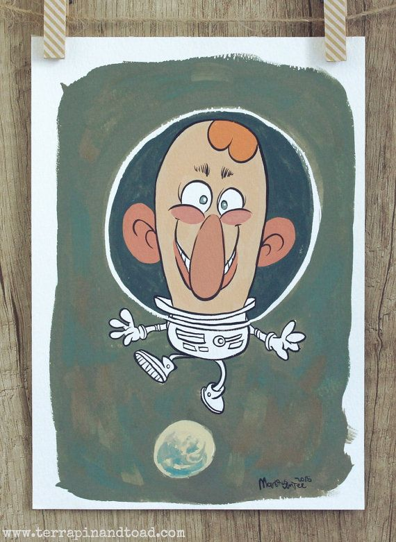 Cartoon astronaut painting, Outer space theme kids room art by #TerrapinAndToad