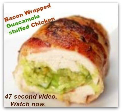 Bacon wrapped GUACAMOLE stuffed chicken in 47 second video  #carbswitch Ingredients Gluten free, Paleo  Meat 4 (6 ounce) chicken breasts 8 slices Bacon Condiments 1/2 cup Guacamole Baking & Spices 1 Salt and pepper  Please Repin