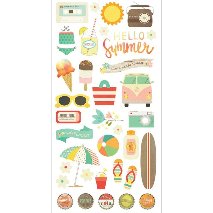 Simple Stories Summer Vibes - Chipboard Stickers 6x12inch