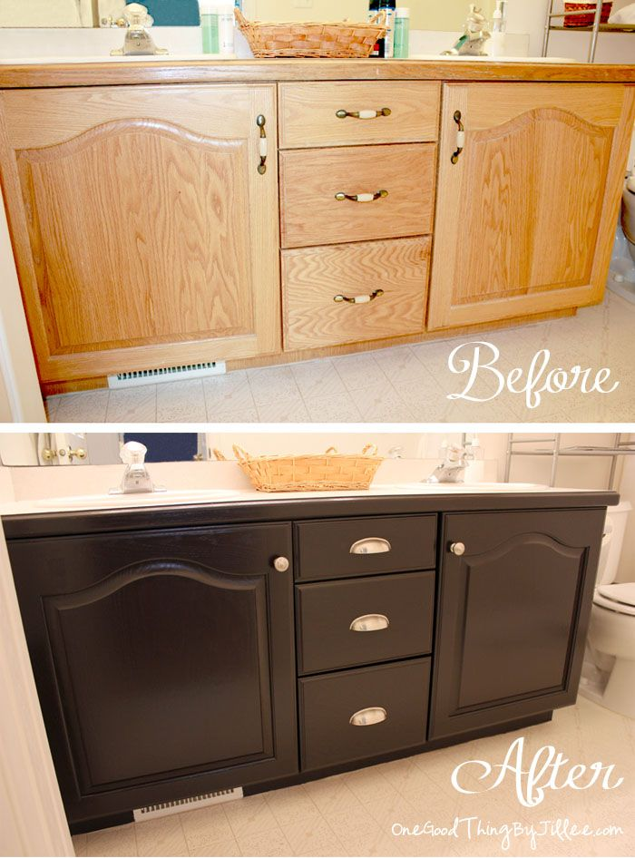 DIY Bathroom Makeover using gel stain to upgrade builder cabinets. SUCH a huge improvement!