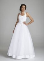 David's Bridal Wedding Dress: Halter Sweetheart Tulle Ball Gown Style OP2295