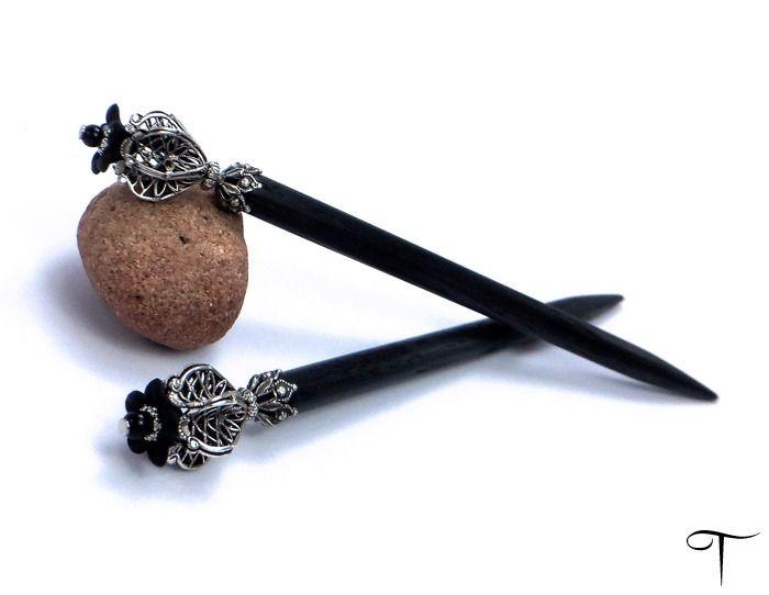 Headpieces & Fascinators - Haarstab-Paar Physalia - ein Designerstück von Teufelslocke bei DaWanda
