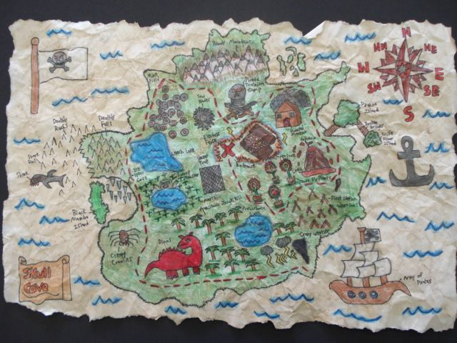 treasure map! 6th grade?.....could be of our town.....our landmarks...treasures