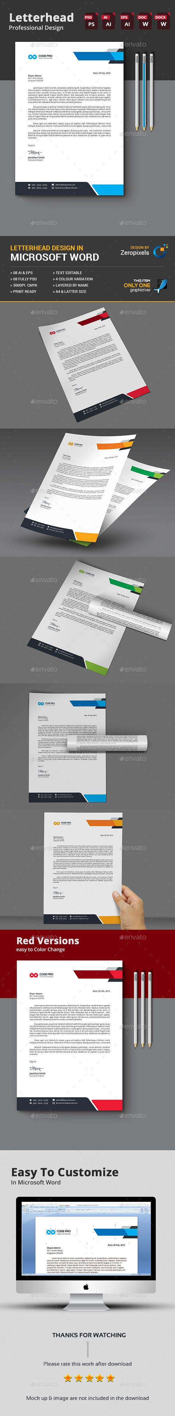 Letterhead Design Template PSD, Vector EPS, AI Illustrator, MS Word
