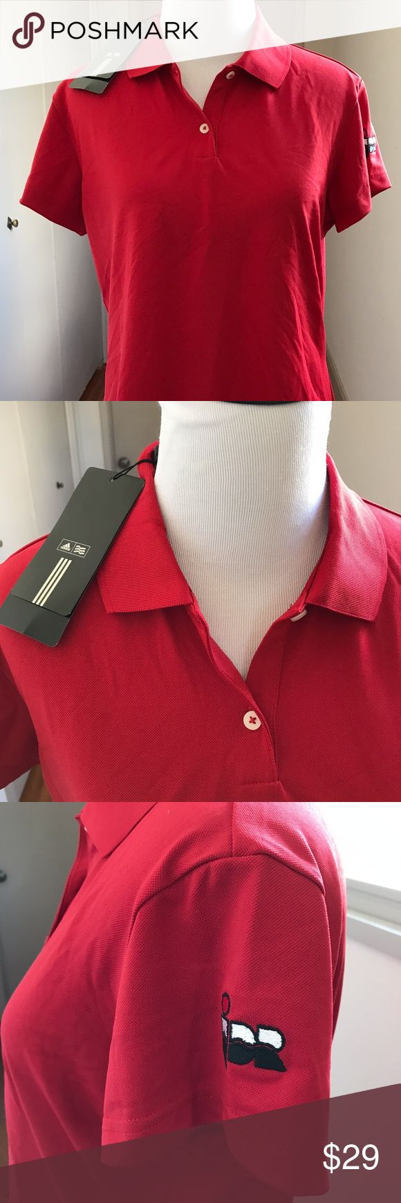 """Adidas Red ClimaLite Red Polo Shirt Golf New w Tag Adidas Woman's Red ClimaLite Red Polo / Golf Shirt . Short Sleeve  Size: Medium. New with Tag. Measurements: Length (shoulder to bottom edge): 22"""" Width (from under one arm to the other):  19""""  Fabric: Polyester. Smoke Free Home. We do have Cats.  This shirt is NOT loose fit. Please read the measurements 😀.. adidas Tops"""