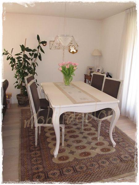 Arredamento con tavolo da pranzo rettangolare stile provenzale allungabile  #tavolo #avorio #allungabile